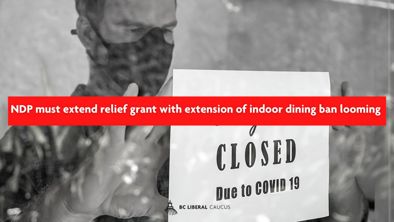 NDP must extend relief grant with extension of indoor dining ban looming