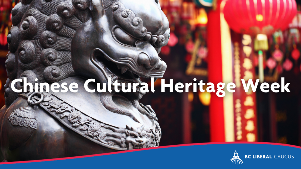 BC Liberal statement on Chinese Cultural Heritage Week