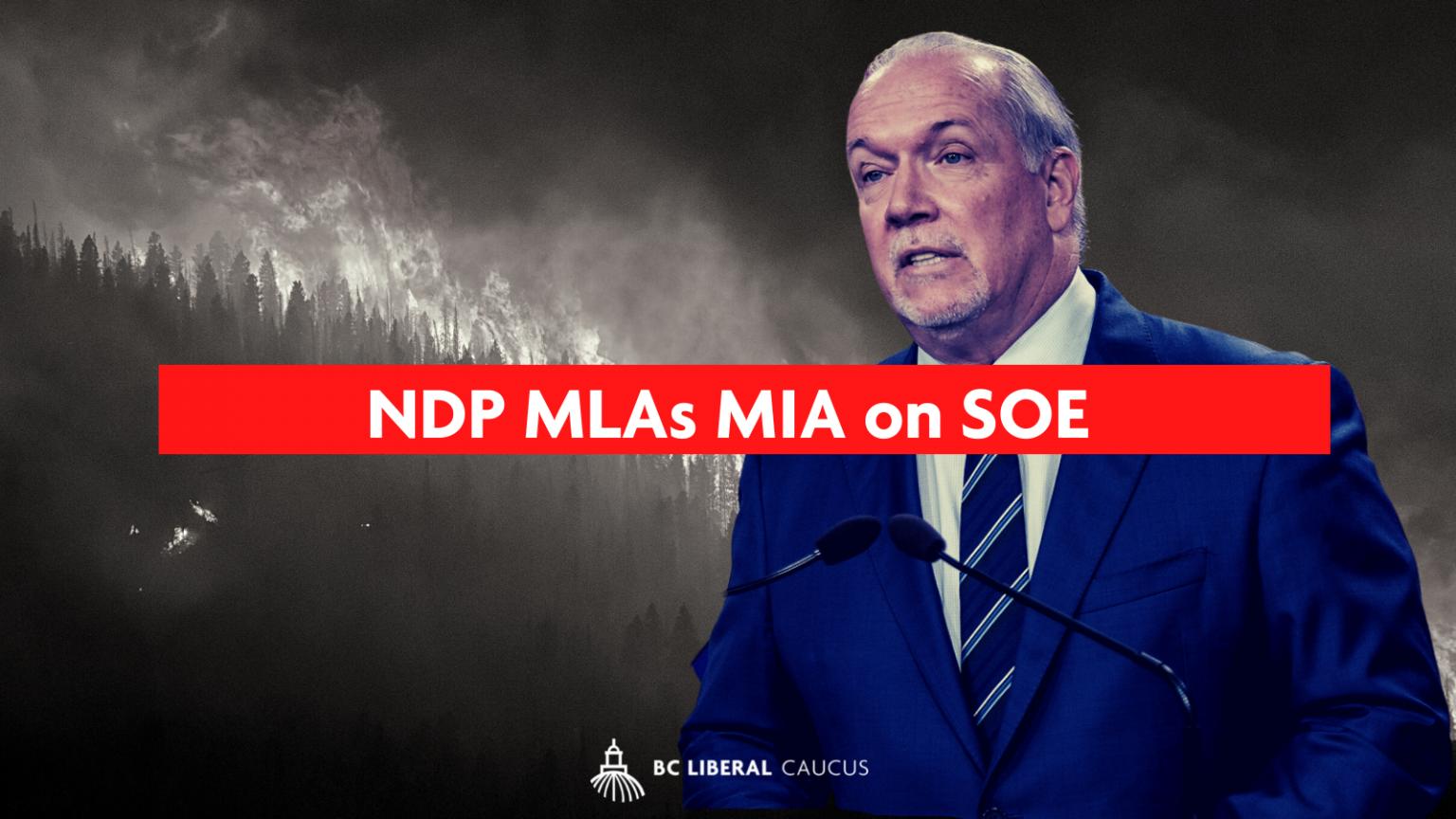 NDP MLAs MIA on SOE